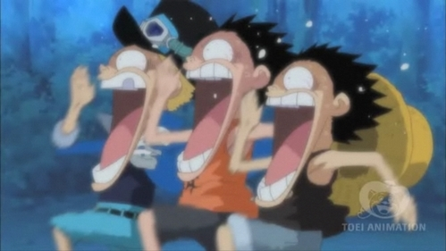Ace , Luffy, Sabo (One Piece) running for their life from garp........heh ehe he this is very funny scene.....he he he i luv this scene.....it always makes me laugh....he he eh he