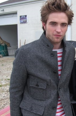 Robert in a red and white striped shirt<3