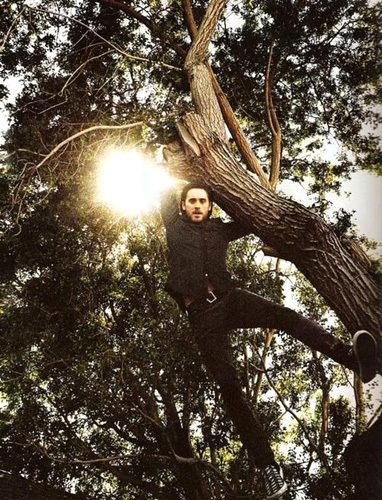 Jared hanging from a boom