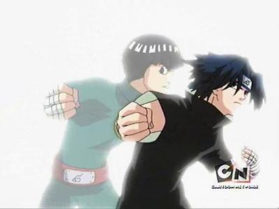 Sasuke Uchiha (Naruto Shippuden) Sasuke copying Lee's taijutsu to defeat Gaara........he he he he