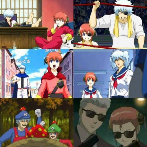 Gintoki and kagura copying each other as they copy someone else XD