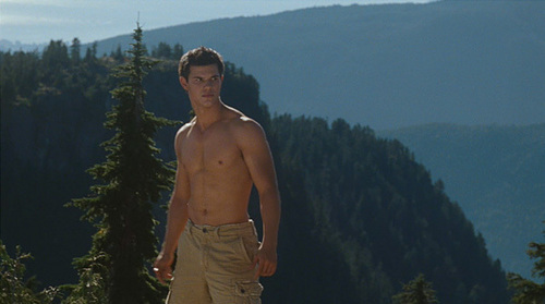 Taylor Lautner standing atop of a mountain in a scene from Eclipse<3