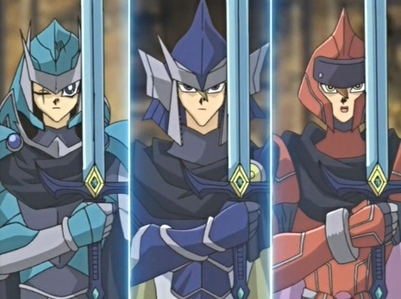 Legendary Knight Critias, Legendary Knight Hermos, and Legendary Knight Timaeus from Yugioh: Waking of the Dragons Arc