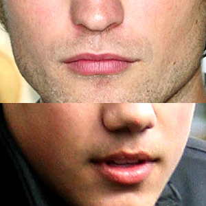 my sexy Robert and Taylor Lautner's lips.I think bạn can tell which lips belong to which hottie<3