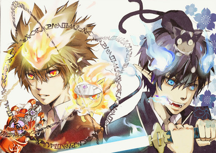 Tsuna and his lion Natsu, Rin and his cat Kuro, was it?