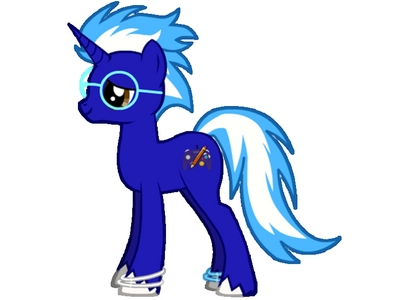 Name: Blazin' Blue Age: 20 Gender: Male Race: Unicorn Likes: Drawing, videogames (despite his cutie mark) Dislikes: Heights, flying (whether it's in a plane, অথবা even a levitating spell on himself, he hates it) Friends: Fluttershy, Applejack, Princess Luna (although he doesn't see her often) Family: Lyra (who happens to be his sister whom his parents never told him about) Cutie mark: Pencil Backstory/info: Blazin' Blue is very artistic, but equally shy. He enjoys drawing কার্টুন and playing video games and gets inspiration from the games he plays and puts it into his drawings. His mane/tail are colored like blue fire, hence his name. He is very shy around mares, and is even afraid to talk to one. The first mare he meets is Fluttershy, who quickly becomes বন্ধু with the shy artist. applejack becomes বন্ধু with him, too, as he is very kind despite his mane looking like blue fire. He thinks that the color of his mane and tail are intimidating any টাট্টু he meets, but once he shows that he's very kind, they are no longer scared of him. Upon meeting Celestia and her sister Luna, Luna takes an instant like to him because she thinks his mane color is cool. He introduces himself to her, and when she hears 'video games' she loses it and wants to be his friend. He accepts and they only meet during nighttime.