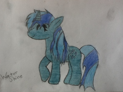 Name Of OC: Water Shine Age: 18 Gender: Mare Race: Unicorn Appearance: রঙ of the water with light grey eyes. Likes: the water, sunsets, sea creatures, nature Dislikes: আগুন Friends: রামধনু Dash and Fluttershy Family: Sparkling Hazel (Mother), সত্বর Wave (Father) Cutiemark: Water Droplets with little shines Backstory/Info: Born into a scientific family, Water Shine has been born in the water and raised on land. Her talent with water and communication with sea and water creatures had earned her, her cutiemark. She currently lives in a light blue দুর্গ tower that is usually seen in মাছ bowls. She is quite a curious টাট্টু and likes to play with the water sometimes. She enjoys the সৈকত and the calmness also with the beautiful sunsets that appear behind.