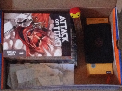 My box full of shit,such as my Iron Man bookmark,and recites.