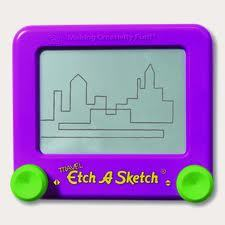 my pocket etch a sketch :3 and my computer but mostly my pocket etch a sketch it looks like this!: excactly like this xD