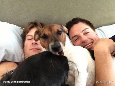 Its Scott Gill, John Barrowman and Captain Jack(the dog).
