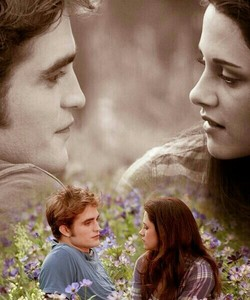 Robert and Kristen,as Edward and Bella facing each other<3