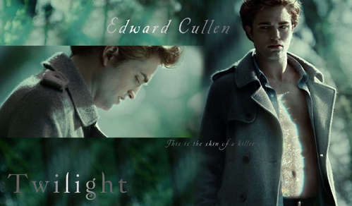 Robert in a scene from Twilight with his shati open<3