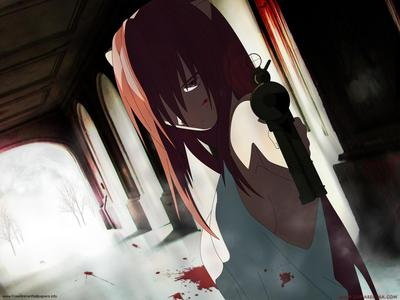 Lucy from Elfen Lied is cold-blooded and ruthless.