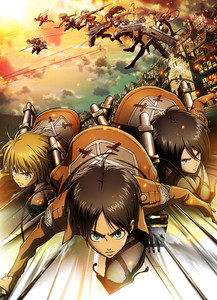 """Shingeki no Kyojin Sypnosis: Several hundred years ago, humans were nearly exterminated por titans. Titans are typically several stories tall, seem to have no intelligence, devour human beings and, worst of all, seem to do it for the pleasure rather than as a comida source. A small percentage of humanity survived por walling themselves in a city protected por extremely high walls, even taller than the biggest of titans. Flash progressivo, para a frente to the present and the city has not seen a titan in over 100 years. Teenage boy Eren and his foster sister Mikasa witness something horrific as the city walls are destroyed por a colossal titan that appears out of thin air. As the smaller titans flood the city, the two kids watch in horror as their mother is eaten alive. Eren vows that he will murder every single titan and take revenge for all of mankind. Link: http://www.nwanime.com/shingeki-no-kyojin/anime/3044/ D.Gray-Man Sypnosis: Towards the end of the 19th century, Allen Walker officially joins the organization of Exorcists that destroy the beings known as Akuma; mechanic weapons made por the Millennium Earl with the suffering souls of the dead. Allen has both a cursed eye and an anti-Akuma weapon as an arm, bearing the power of """"Innocence"""", a gift given to him as an apostle of God. Allen, along with his fellow Exorcists must put a stop to the Millennium Earl's ultimate plot that could lead to the destruction of the world and all who live on it. Link: http://www.nwanime.com/58/d.gray-man (Picture: Shingeki no Kyojin)"""