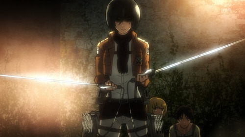 Mikasa Ackerman wears a scarf.
