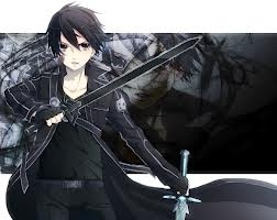 Kirito (PICTURE) from Sword Art Online wears his black koti, jacket all the time :) It has a special name but i forget what it's called?!