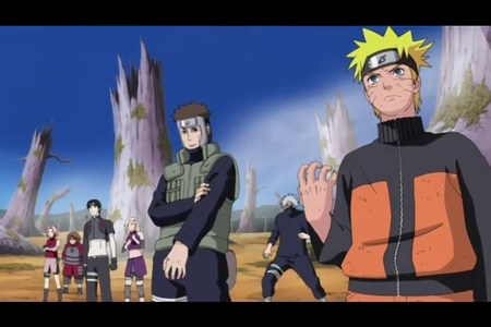 """naruto & his team has arrived (Naruto Shippuden) in this scene naruto, yamato, sakura & Sai reach in a nick of time to rescue kakashi & team 10....& kick Kakauzu's butt...............in this episode naruto uses his Rasen Shurikan for the first time...& when they appear kakashi did say """"perfect timing....we r saved,,,,the reinforcement has arrived"""".....i luv this scene...he he he eh"""