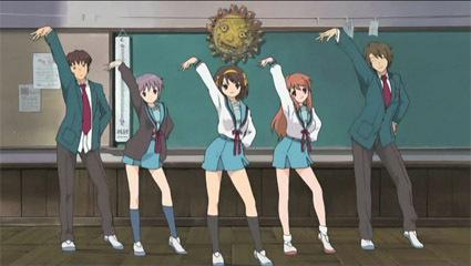 Here is Haruhi (The Melancholy of Haruhi Suzumiya) and Co. dancing.