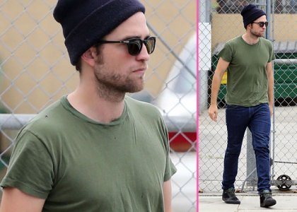 my handsome Robert in green...and look,he's wearing a beanie<3