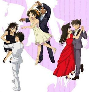 Here the three main couples dancing from Meitantei Conan