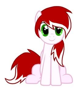Type: unicorrn (her horn isnt in this picture shhh) Cutie mark: Süßigkeiten cane Mane: red & white Work: at some Süßigkeiten Shop oder something idek