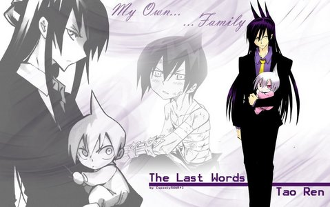 I have remembered.... Ren Tao from Shaman King...but he had long hair only in the manga... ;D