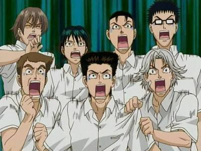 The Seigaku Regulars from Prince of テニス were very shocked when they saw their coach flashed her face with torchlight and made they think it was a ghost...