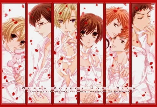 All the ouran boys!!!!!!!(guys as あなた see there is haruhi in the picture please dismiss her...)