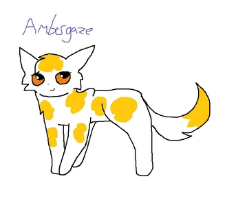 Name: Ambergaze Description: sleek, white she-cat with golden spots and vivid amber eyes Rank: warrior, 55 moons Personality: serious and skillful, but kind-hearted (And I know the picture isn't the greatest, but I didn't have a lot of time to make it.)