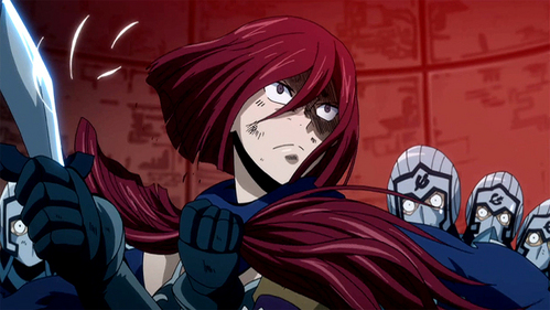 Erza Knightwalker from Fairy Tail cut her hair because she was intimidated سے طرف کی Erza Scarlet