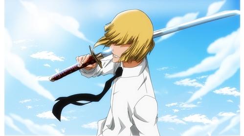 Shinji Hirako (Bleach)  he had long hair b4 becoming a vizard..........about after becoming a vizard he have a short hair.......he may look stupid but he is cool..he he he eh