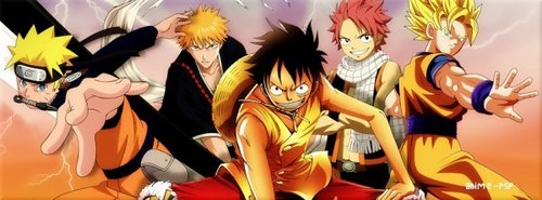 My top, boven 5:~ 1) Bleach 2) Naruto Shippuden 3) One Piece 4) Dragonball z 5) Fairy Tail