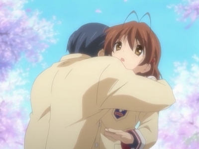 In the anime Nagisa disappears when Tomoya hugs her :') Sooo, sooo sad :( ANIME-----CLANNAD couldn't find a good picture :P