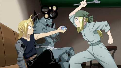 Winry from Fullmetal Alchemist Brotherhood wears a green of red bandana sometimes :D AKA--- she's the girl :P