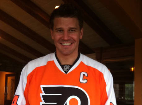 David wearing a Philly Flyers hockey jersey
