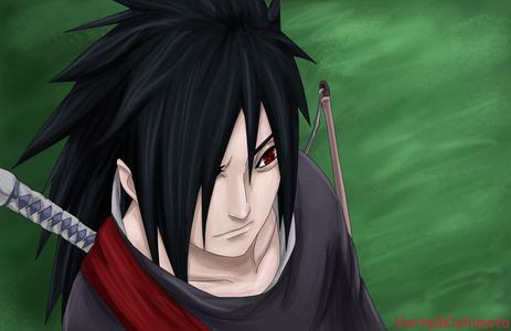 Madara Uchiha ofter has hair over one eye. (Naruto)