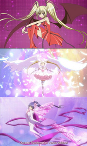 Many transformations from Shugo Chara have wings. All Mirajane's tranfromations from Fairy Tail have wings and most of Erza's equipped battle armor have them too. Pictures in order(btw all 3 are from Shugo Chara): Utau's Lunatic Charm and Seraphic Charm Nadeshiko/Nagihiko's Yamato Maihime