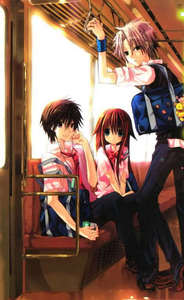 "I know tu asked for an anime but I thought this manga was adorable and I actually thought it was pretty good and I almost NEVER say that about anything romance genre. It's called ""I Am Here!"" It's a really short series and tu can get it at Barns and Noble, I just think it's adorable and I apologize for not giving tu an anime but if tu ever need a manga to read I suggest this if tu want a amor triangle, did I mention it's adorable?"