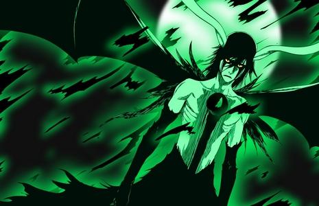 Ulquiorra Schiffer (Bleach) Ulquiorra's 2nd & 3rd resurrections have wings...........its soooooooo epic......eh eh ehe h