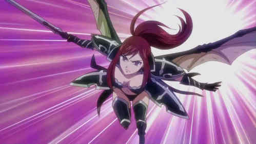 Don't know if this counts but Erza Scarlet (Fairy Tail) gets wings when she equips to her Black Wing Armor :)