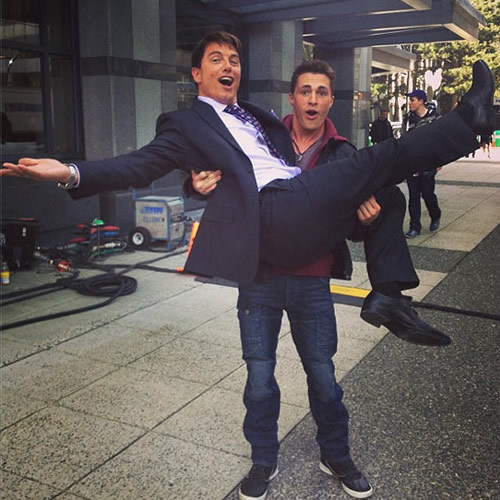 John Barrowman jumping into Colton's arms!