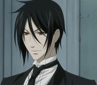 Sebastian Michaelis from Kuroshitsuji. I was originally going to go with Angel Beats!'s Naoi, but technically he doesn't have red eyes---they only change to red when he uses hypnotism.