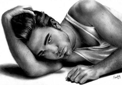 whoever drew this captured him in all his Rob hotness<3
