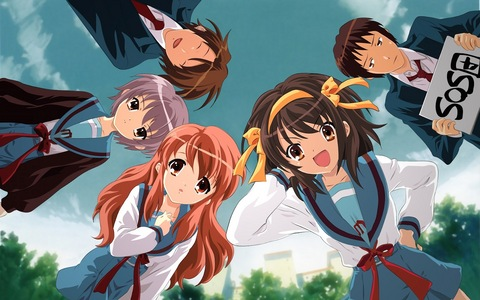 [b] The Melancholy of Haruhi Suzumiya. [/b] I didn't really like this anime. It was quite boring and too random. The main character is annoying,bossy and spoiled. She has also tried to force another person to take off their clothes and put on a bunny suit and a maid outfit. This anime had decent uhuishaji and could have been better. The movie wasn't any better. I only liked about 2-3 characters from it.