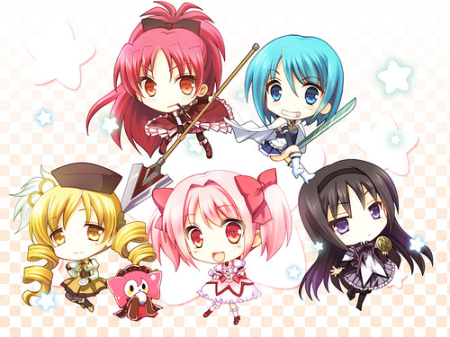 The girls from Puella Magi Madoka Magica (talk about long names..) Personally, my favourite is Kyoko (with red hair)!
