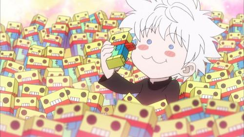 Killua Zoldyck from Hunter X Hunter -he is known for having a sweet tooth <3