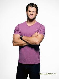 "Chris ""hottie"" Hemsworth in a purple shirt<3"