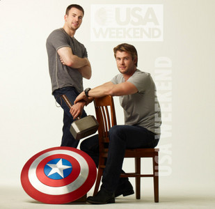 2 sexy superheroes...Thor and Captain America<3