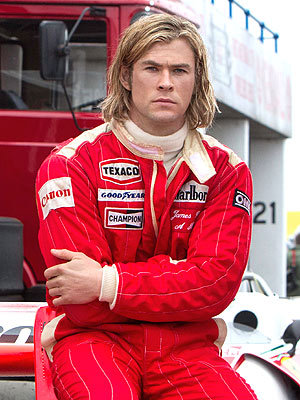 my sexy Aussie Chris in a red race car suit from his movie,Rush<3