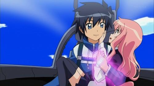 Zero no Tsukaima. (The familiar of Zero.) The girl is Louise de La Valliere and the guy is Saito Hiraga.